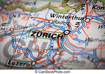 Zurich city on a road map
