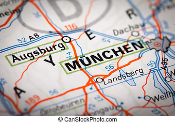 Munchen on a road map