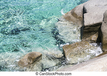 rocky ocean coast with turquoise water