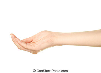 Female caucasian hand gesture isolated - Female caucasian...
