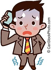 Businessman making a call with a lo - Vector illustration.