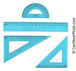 Set of multiple plastic rulers - Set of multiple blue...