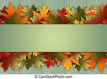 Postcard with leaves - illustration of Postcard with leaves