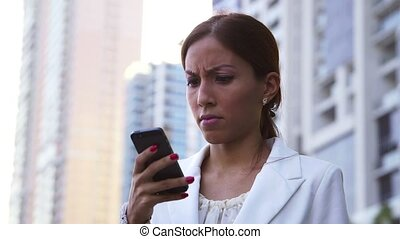 Angry businesswoman on the phone - Business people, young...