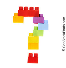 Question mark made of toy bricks
