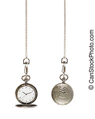 Closed and opened pocket watch - Closed and opened silver...