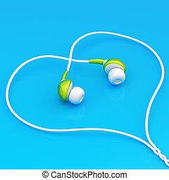 In-ear headphones composition - In-ear white and green...