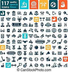 big fitness icins set - Fitness and Sport vector icons for...