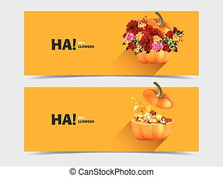 Halloween pumpkins with flowers and maple leaves