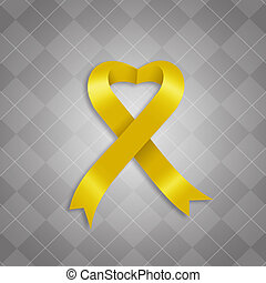 Awareness yellow ribbon - illustration of Awareness yellow...