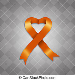 Awareness orange ribbon - illustration of Awareness orange...