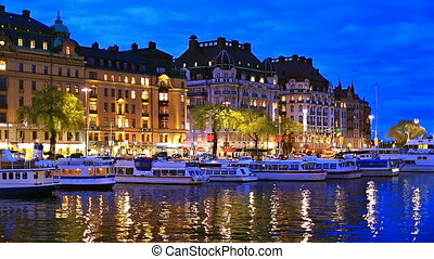 Evening scenery of Stockholm, Swede - Scenic summer evening...
