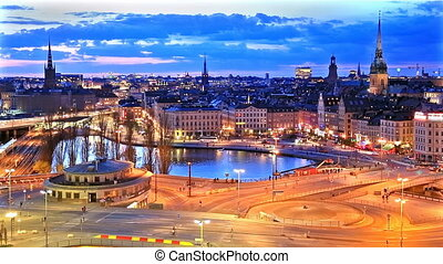 Night panorama of Stockholm, Sweden - Scenic summer night...