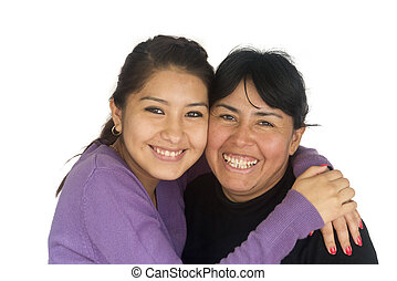 Bolivian Mother and Daughter - Happy Bolivian woman with her...