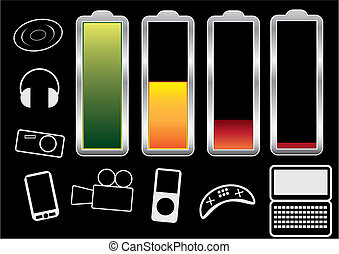 Charge levels - Battery charge levels and icons of the...
