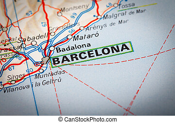 Barcelona - Map Photography: Barcelona city on a road map