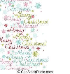 Vector merry christmas text vertical frame seamless pattern background