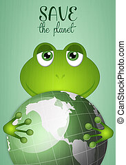 Funny frog with green earth