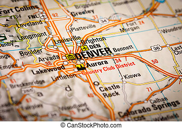 Denver, USA - Map Photography: Denver City on a Road Map