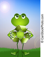 Funny frog with ecology symbol