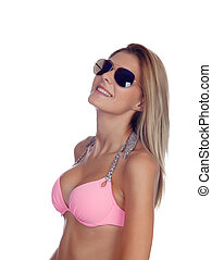 Attractive fashion woman with sunglasses and pink bikini...