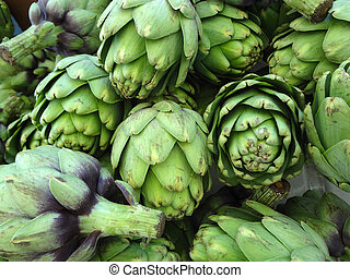 Pile of Green Artichoke - Close-up of Pile of Artichoke on...