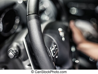 Closeup photo of car interiors