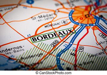 Bordeaux City - Map Photography: Bordeaux City on a Road Map...
