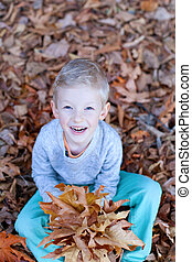 kid at fall - smiling little boy sitting in autumn leaves...