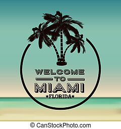 Miami design over beachscape background, vector illustration