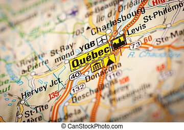 Quebec - Map Photography: Quebec City on a Road Map