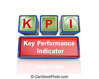3d boxes of concept of kpi