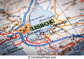 Lisboa City - Map Photography: Lisboa City on a Road Map