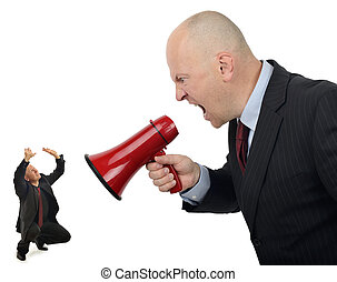 Business bully - Businessman shouting orders at a worker...