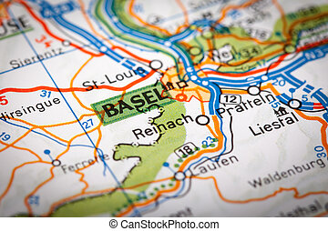 Basel on a road map - Map Photography: Basel City on a Road...