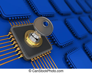 encoded data - 3d illustration of encoded chip and many...