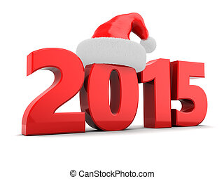 2015 year - 3d illustration of 2015 new year and Christmas...