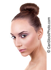 Skincare Woman Hair Bun - Skincare woman with a hair bun...