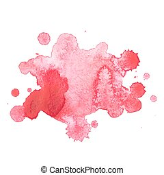 Abstract watercolor aquarelle hand drawn red drop splatter stain art paint on white background Vector illustration