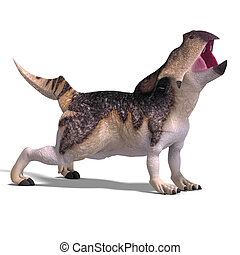 Dinosaur Protoceratops - 3D render with clipping path and...
