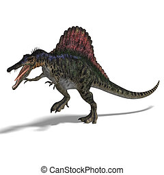 Dinosaur Spinosaurus - dinosaur Spinosaurus. 3D render with...