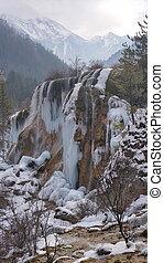 Winter Jiuzhaigou Pearl Beach Waterfall