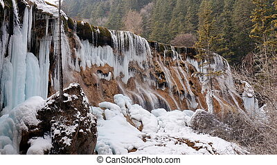 Winter Jiuzhaigou Pearl Beach Waterfall