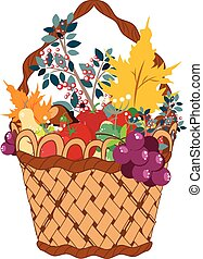 Basket of Vegetables - Still life of different vegetable and...