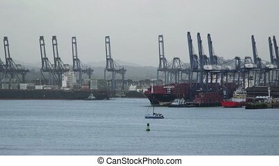 Panama city harbor, port, docks - Shipping industry and...
