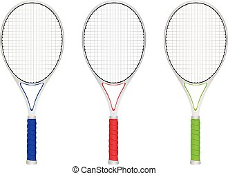 Tennis Rackets - Colorful tennis rackets set on white...