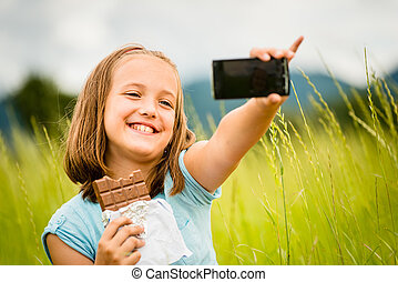 Selfie - child with chocolate