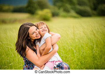 madre, Abbracciare, bambino