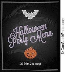 halloween menu chalkboard restaurant background