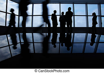 Busy business people - Outlines of business people, meeting,...